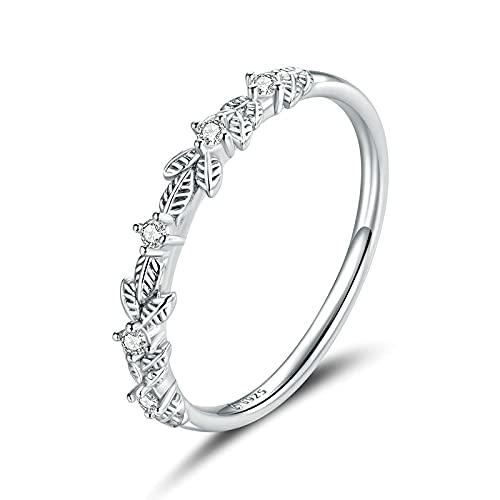 Anillo de plata esterlina 925 Clear Platinum Cz Vintage Vine Anillos de dedo para mujeres Compromiso Joyería de boda