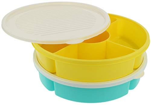com-four® 2x Vorratsdose für Camping, Picknick und zu Hause - Servierschale für Obst, Gemüse und Snacks - Aufbewahrungsbox mit Deckel (02 Stück - gelb/türkis)