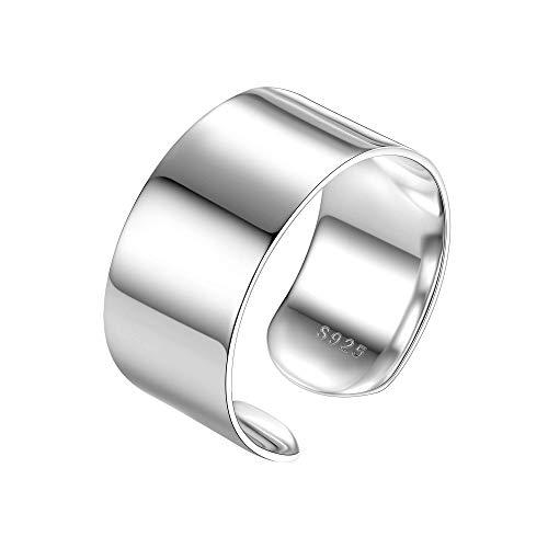 PROSILVER Breiter Ring 925 Silber für Männer Frauen - verstellbar hochglanzpoliert Bandring 10mm breit Offener Ring Schmuck Accessoire für Mädchen Jungen
