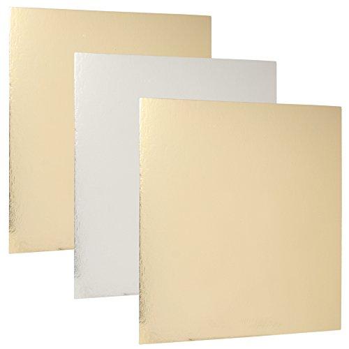 FunCakes - Base cuadrada de cartón - Plata/Oro - Dimensiones: 35 x 35 cm - 3 unidades