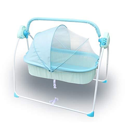 WILLQ Lit de bébé/Tout-Petit à Bascule Portable/Oreiller stéréotypes, moustiquaire de Protection Automatique Smart Bedside Sleeper,Bleu,Elite Version