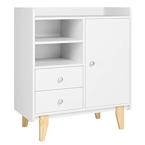 Homfa Modern Sideboard Storage Cabinet Cupboard Multi-Shelf Bookcase Freestanding Storage with 1 Door 2 Drawers and 2 Storage Shelves White 75x40x87cm