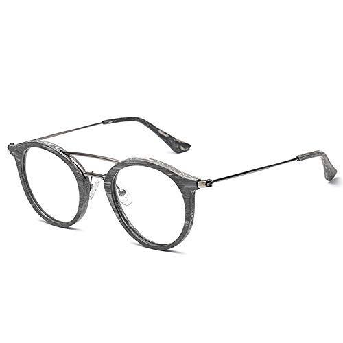 ZJN-JN - Gafas de sol para hombre y mujer, estilo clásico, clásico, redondo, marco de madera de grano de madera (color: 01 gris, tamaño: libre) (color: 01 gris)