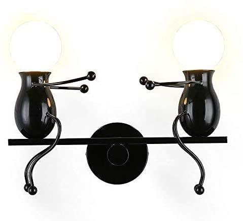 MC Creativo lámparas de pared aplique de pared moderno decorativo metal lámpara de pared columpio lámparas de pared para bar, dormitorio, restaurante, negro E27 (negro)
