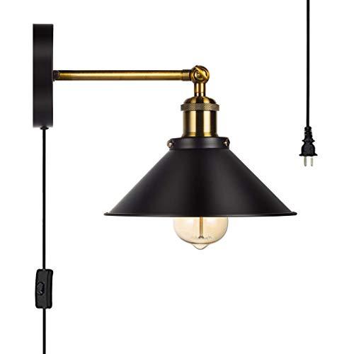 QJY industriële vintage wandlamp met metalen kap Retro Arc Loft buis bevestigingsarm, ijzer-kunst-wandlamp, licht met lange arm, wandlamp, boerderij (kleur: zwart)