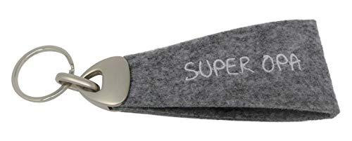 GILDE Schlüsselanhänger Super Opa - Filz Geschenk und Glücksbringer grau L 15 cm