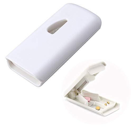 JUN-H Verdickter Tablettenteiler Medikamententeiler Pillenschneider Schützt die Finger Perfekt und Schneidet die Qualität der Getrennten Medikamente Sicher und Zuverlässig (Weiß)