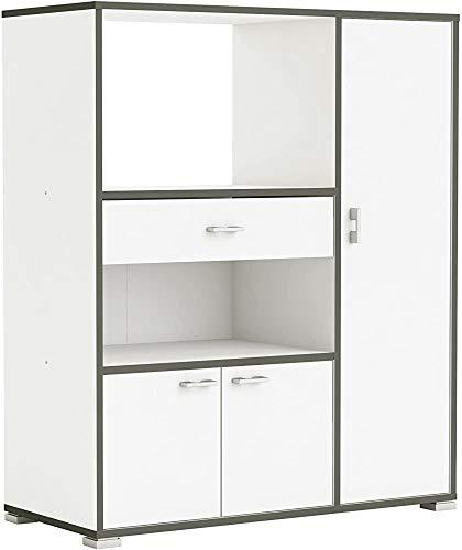 Hilfsküchenschrank mit drei Türen und einer weißen Schublade, grauen Umriss,White