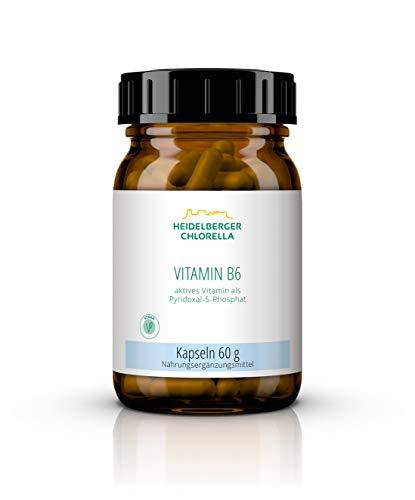 Heidelberger Chlorella – Vitamin B6 aktiv (P5P) Kapseln, aktives Vitamin B6 als Pyridoxal-5-phosphat, vegan, hochdosiert, gute Bioverfügbarkeit, hergestellt in Deutschland, 60 g, 120 Kapseln