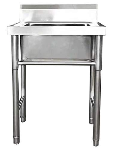 HYEBOX Fregadero para Uso General Independiente Lavaplatos con Accesorios Fregadero de Cocina Integrado para lavadero en el Patio al Aire Libre, Acero Inoxidable de 1 mm de Espesor