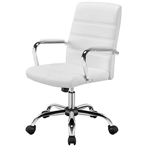 Yaheetech Bürostuhl Drehstuhl Arbeitshocker mit Armlehnen Bürohocker auf Rollen mit Rückenlehne Chefsessel Belastbar bis 130kg Weiß