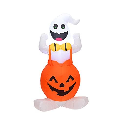 Modello gonfiabile, zucca di Halloween Ghost, modello da 1,2 m, portatile e terribile per la camera da letto, decorazione terroristica di notte (fonte energetica UK)