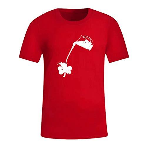 Cuteelf Herren Unisex Kurzarm T-Shirt Irish for a Day | Irland St. Patrick Green Herren New Festival Printed Rundhals Hip Hop Kurzarm Top Bluse T-Shirt