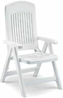 Silla de resina con 5 posiciones, respaldo alto blanco SCAB 96,0 x 16,5 x 64,0