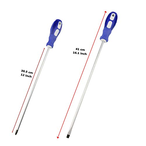 Nxtop 12-inch long Screwdriver Magnetic Tip Cross Head Flat Head NO.2 Screwdriver 2pack