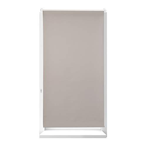 Relaxdays Estor Opaco Térmico sin Taladrar, Poliéster-Aluminio-Plástico, 210x76 cm, Marrón