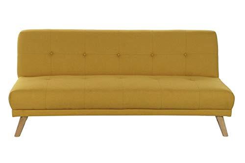 DRW Sofa Cama de Poliester y Madera en Amarillo 175x80x76cm