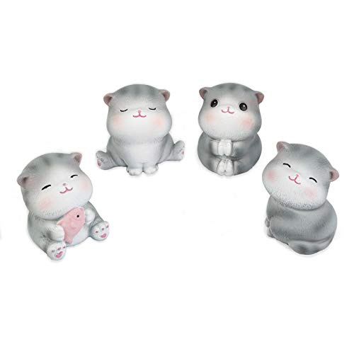 Cute Mini Cat Statues 4-Piece Set  Collectible Figurines  Home Office Bookshelf Desktop Decor  Kids Gifts | Gifts for Cat Lovers