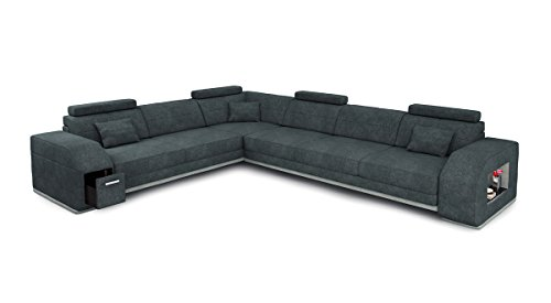 Bullhoff by Giovanni Capellini Sofa L-Form Stoff Textil grau Ecksofa Wohnlandschaft Eckcouch Couch Designsofa mit LED-Licht Beleuchtung Frankfurt II