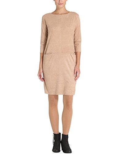 Berydale Damen Kleid in Lederoptik, Beige, XS