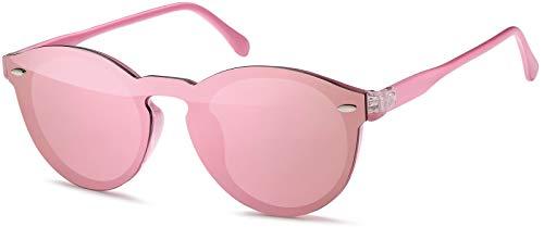 styleBREAKER gafas de sol con un solo cristal con lentes planas y patillas de plástico, lentes redondas, unisex 09020081, color:Montura Rosa / Vidrio Rosa espejado