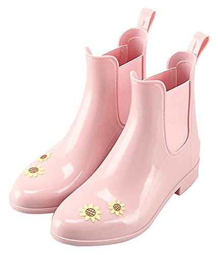 NIANXINN Tubo de la Manera Corto Botas de Lluvia Impermeables de la Mujer Linda Antideslizante Botas de Lluvia Suave y fácil de Limpiar Botas de Lluvia (Color : Pink, Size : 38 EU)