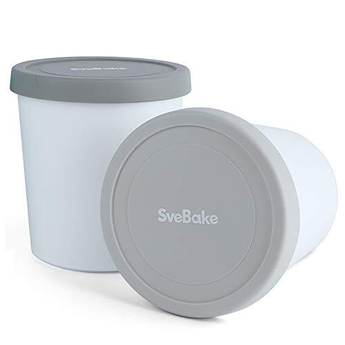 SveBake Eisbehälter für Speiseeis 1L - 2er-Set mit Deckeln aus Silikon, Behälter Hausgemachte für EIS Creme