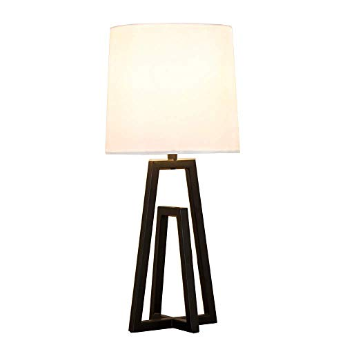 POPILION Cozy Minimalist White TC Fabric Lamp Shades Bedroom Living Room Table Lamp, Simple Modern Bedside Desk Lamp with Hollowed Black Metal Base