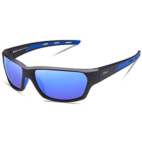 DUCO Polarisierte Sportbrille Sonnenbrille Fahrradbrille mit UV400 Schutz für Herren Autofahren Laufen Radfahren Angeln Golf TR90 (Blau)