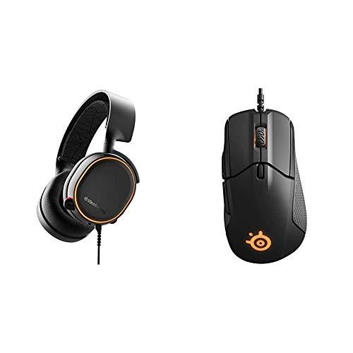SteelSeries Arctis 5 (Gaming Headset, RGB-Beleuchtung, DTS Headphone:X v2.0 Surround für PC und Playstation 4) schwarz & Rival 310, optische Gaming-Maus, RGB-Beleuchtung, 6 Tasten, Farbe schwarz
