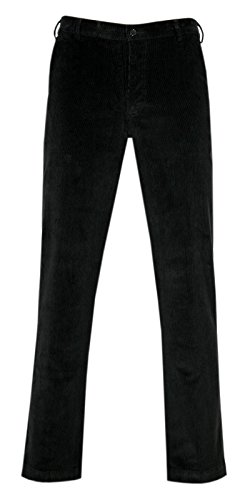 PAPADAY Herren Stretch Cordhose, Flatfronthose aus Baumwoll-Feincord-Schwarz-62