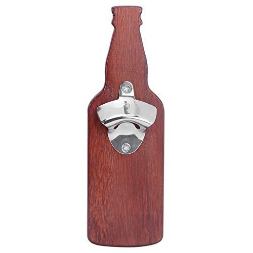 Les-Theresa Abridor de botellas de cerveza y vino de madera con forma de botella para el hogar, accesorios adhesivos con imán para nevera(Vino rojo)