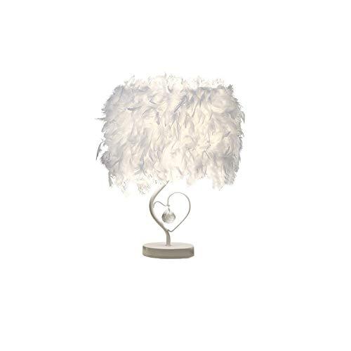 Feder, Nachttischlampe, Vintage, Schlafzimmer, Dekoration für Haus, moderne Tischlampe in Herzform, aus Kristall, E27, mit Leuchtmittel
