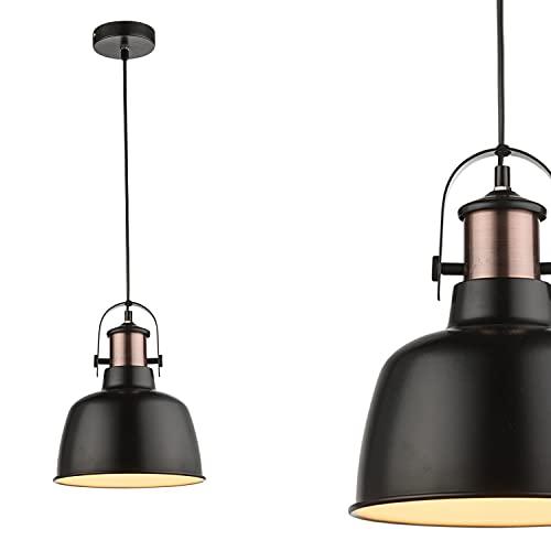Lámpara de techo vintage de 1 foco, lámpara de techo colgante de metal negro (lámpara de techo industrial, lámpara de cocina, 23 cm, altura 120 cm, cable negro)