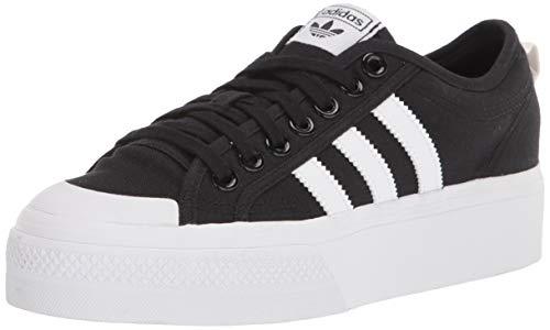 adidas Originals womens Nizza Platform Sneaker, Black/White/White, 5 US