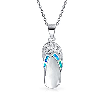 Nautical Blue Created Opal Flip Flop Sandal Pendant Necklace For Women For Teen 925 Sterling Silver October Birthstone