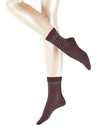 ESPRIT Damen Fold Stripe W SO Socken, Blickdicht, Grau (Anthracite Melange 3081), 35-38 (UK 2.5-5 Ι US 5-7.5) (2er Pack)