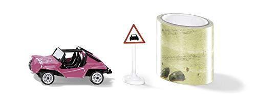 Siku 1604, Buggy mit Tape und Verkehrsschild, Metall/Kunststoff, Multicolor, 5 m Fahrstrecke