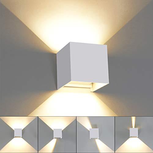 HAWEE Moderno Luz de Pared LED Apliques de Pared Ángulo de Haz Ajustable LED Bañadores de Pared Impermeable IP65 Interior Exterior para Baño Dormitorio Pasillo Escaleras Sala KTV, 6W 3000K