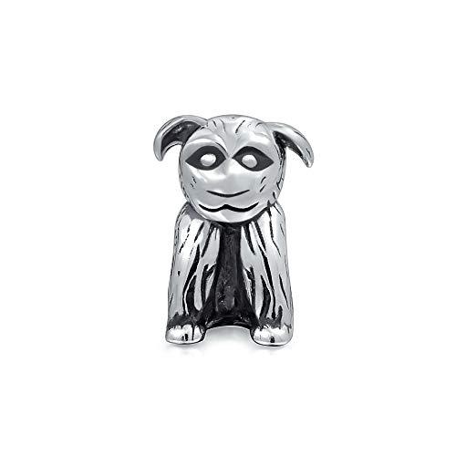 BFF Tierliebhaber Welpe Mutt Rescue Hund Charm Perle für Frauen Teen Oxidiert .925 Sterling Silber passt europäisches Armband