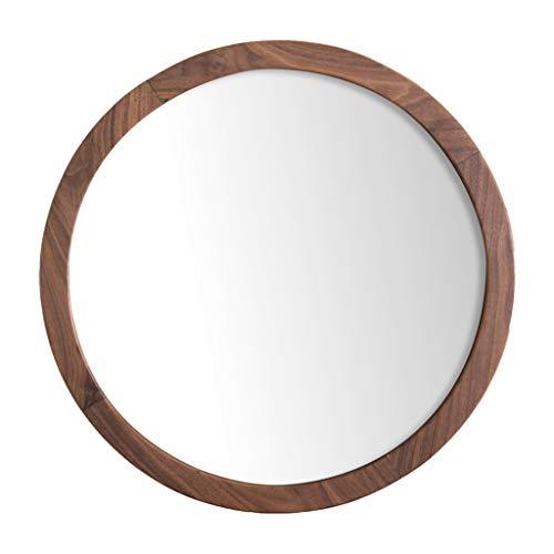 Miroirs muraux Miroirs Miroir Cadre Photo 50cm Miroir de courtoisie Miroir décoratif Style Simple Cadre Photo en Bois de Noyer Noir Cadre décoratif (Color : Brown, Size : 50 * 50cm)
