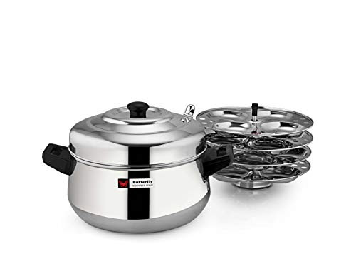 Butterfly Stainless Steel Curve Idli Cooker, Idly Maker Set with 4 Plates, 16 idlies, Silver