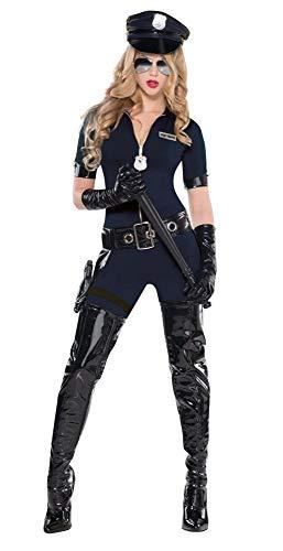 5-TLG. Damen Kostüm Stop Traffic Cop Polizistin Catsuit Mütze Handschuhe Gürtel sexy Overall Police JAG, Größe:S - 34/36
