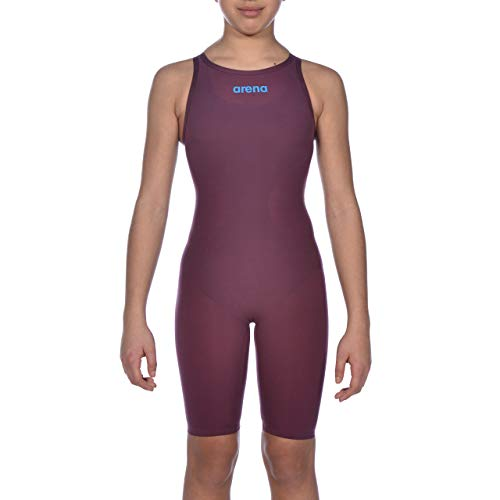 ARENA Mädchen Badeanzug Powerskin R-EVO One Open Back Youth Racing, Mädchen, einteilig, Powerskin R-evo One Open Back Junior Racing Swimsuit, Rotwein/Türkis, 28