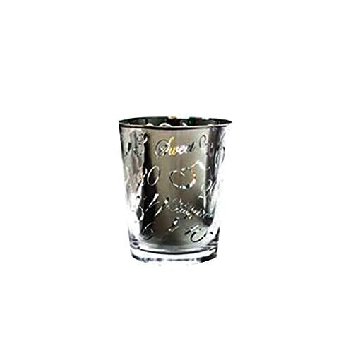 Taza de agua de vidrio de una sola capa, taza de cerveza de impresión de galvanoplastia doméstica, taza de té de fruta, taza de té de flor, taza de bebidas, taza de agua simple.Plata vasos de whisky W