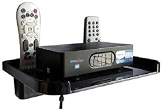 Logger PVC Set Top Box Stand with 2 Remote Holder (Black) Acrylic Wall Shelf (Number of Shelves - 1, Clear)