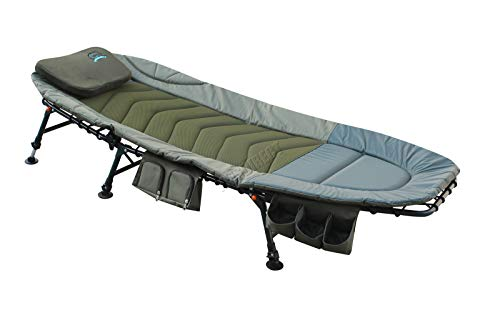 Carpzilla Portable Fishing Bed Chair | XL Heavy Duty Camping Bed | Adjustable Back Rest & Legs Bedchair | Built-in Tool Bag Tackle Storage Carp Fishing | Detachable Pillow - Khaki Green