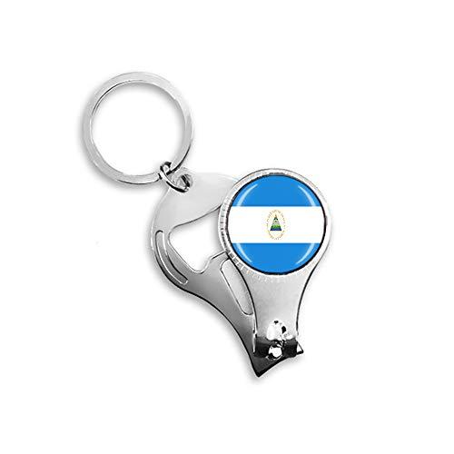 Nicaragua Flagge Bierflaschenöffner Nagelknipser Metall Glas Kristall Schlüsselanhänger Reise Souvenir Geschenk Schlüsselanhänger Zubehör