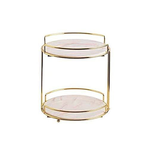 QYLJZB Estante organizador de maquillaje de metal de 2 niveles, estante de almacenamiento cosmético multifuncional, bandeja de tocador de baño de mármol de alambre para encimera de aparador (rosa)