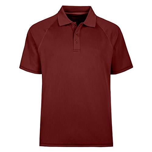 MOHEEN Men's Short Sleeve Moisture Wicking Performance Golf Polo Shirt (4XL,Wine Red)